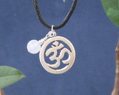 Serenity Blue Lace Agate Sterling Silver Charm Necklace Om Pendant, Black Cotton Rope Necklace Healing Bracelet Calming Throat Chakra Stone