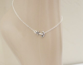 Anchor Anklet, Sterling Silver, Beach Jewelry, Foot Jewelry, Ankle Bracelet, Sideways Anchor, Silver Anklet, Summer Jewelry, For Her