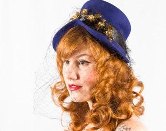 1940s vintage hat / wool tilt hat / Movie Modes