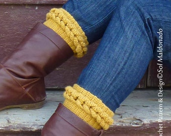 Boot Cuff Pattern Crochet PDF Crochet Pattern - Braided Leg socks, boot topper - leg wear easy PHOTO tutorial - Instant DOWNLOAD