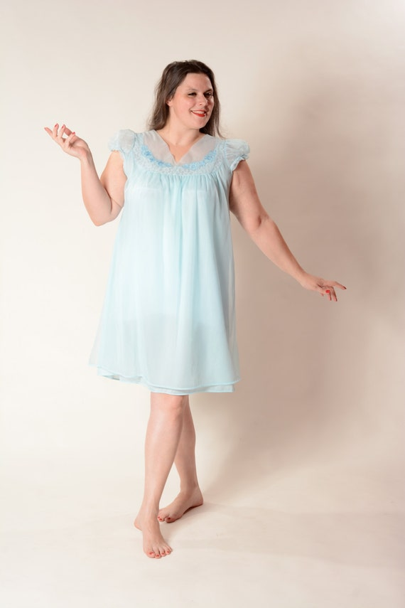 Vintage 1960s Blue Babydoll Nightgown Penny S By