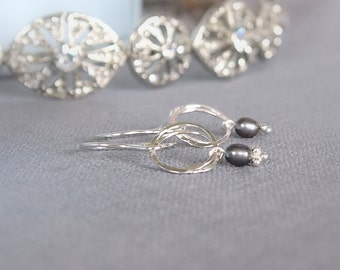 Pearl and Silver Dropper Earrings, Black Pearl and Sterling Silver
