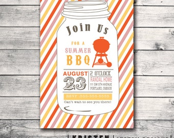 Mason Jar BBQ Backyard Barbecue Party Invitation- Carnival Circus Theme- Print Order Deposit or Digital File Setup for DIY Printing