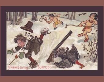 A Thanksgiving Surprise- 1900s Antique Postcard- Pilgrim Hunting Turkey- Angry Indian Stereotype- Edwardian Decor- Paper Ephemera- Used