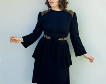 Vintage 1940's Dress - Tap Dance - Amazing Black Crepe Peplum Dress with Jeweled Shoulders and Belt