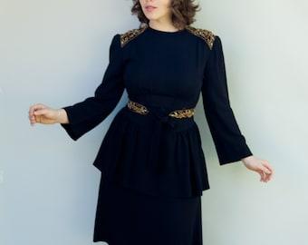 Vintage 1940's Dress - Tap Dance - Amazing Black Crepe Peplum Dress with Jeweled Shoulders and Belt