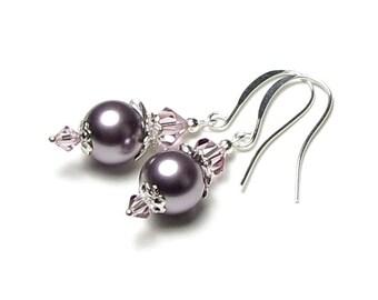 Lavender Sachet Swarovski Pearl And Light Amethyst Swarovski Crystal Silver Earrings, Lilac Wedding Earrings, Mauve Pearl Bridal Jewelry,
