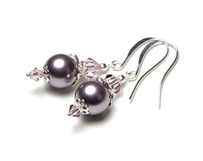 Lavender Sachet Swarovski Pearl And Light Amethyst Swarovski Crystal Silver Earrings, Lilac Wedding Earrings, Mauve Pearl Bridal Jewelry,