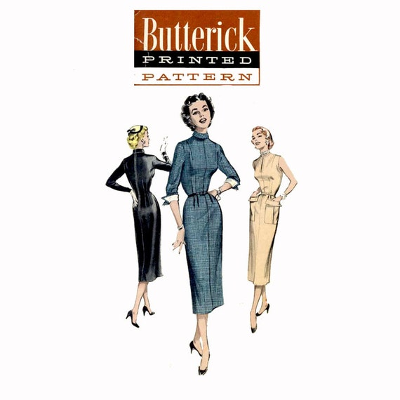 1950s High Neck Sheath Dress Pattern Butterick 6636 Bust 30 Womens Vintage Sewing Pattern Misses Day or Evening Dress UNCUT