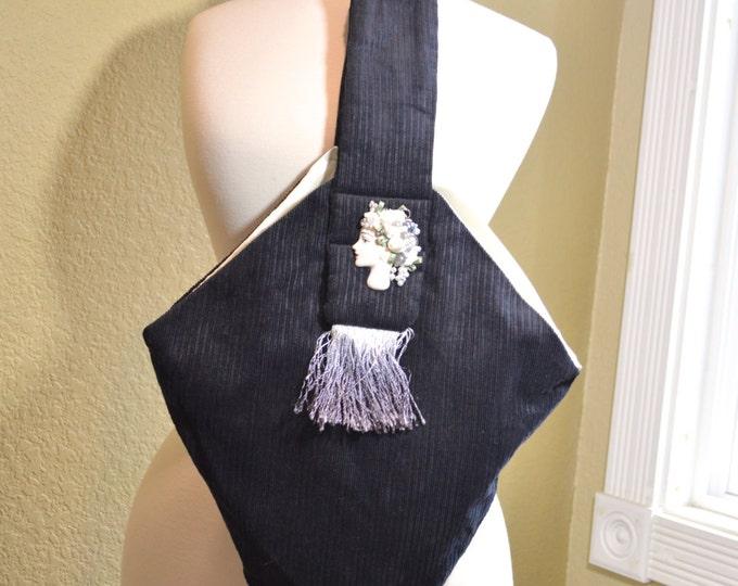 Handmade Black Corduroy Purse, Vintage Evening Bag, Art Deco Embellished Ladies Porcelain Face, Hand Dyed Fringe, Ombre