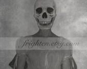 Halloween Art, Black and White, Creepy Art, Spooky Skull Art, Skeleton Art, Halloween Decor, Altered Portrait, Dark Art Print
