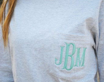 Long Sleeve Monogrammed Pocket T-Shirt