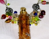 """Amber Apothecary Glass Bottle Pendant Vial 30"""" Beaded Silver Chain Necklace"""