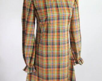 1960s Shift Dress Madras Plaid Womens Size Medium