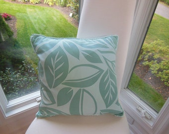 Beach House Pillow - Aqua Pillow - Tropical Leafs - Summer Home Pillow - Decorative Pillow - 18 x 18 Inch - Soothing Tropics Design Pillow