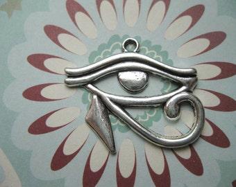 6 Eye of Horus Eye Pendants in Silver Tone - C1530