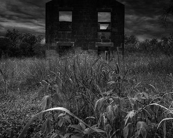 Homestead - eerie infrared hdr abandoned house dark macabre halloween fine art photography