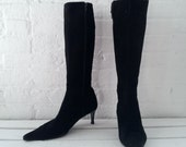 Black Kitten Heel Boots 7.5 Bergdorf Goodman 90s Vintage 80s Pointy Toe Low Stacked Heel Mod Goth Witch Italian Tall Suede Minimalist Boots