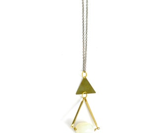 Vintage crystal teardrop triangle necklace brass bohemian