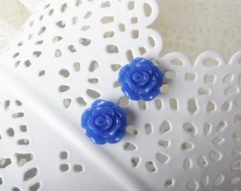 Blue rose stud Earrings - Stud Earrings - flower earrings - delicate earrings -capri blue - rose earrings - flower stud - cabochon earring