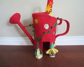 Felt waldorf style watering can home, red felt decor, playhouse, imaginary play, nursery decor