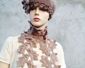 INSTANT DOWNLOAD Set Lace Beanie and Scarf - Version Leaves of Crochet Queen Annes Lace- 2 Crochet Patterns