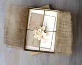 "Burlap Wedding Invitations, Enchanted Forest Wedding, Burlap Invitations - ""Peach & Gray Loves Lace Box Invite"" Sample - NEW LOWER PRICE!"