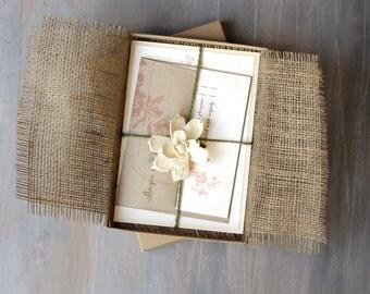 "Burlap Wedding Invitations, Enchanted Forest Wedding, Burlap Invitations - ""Peach & Gray Loves Lace Box Invite"" Sample - NEW LOWER PRICE!"