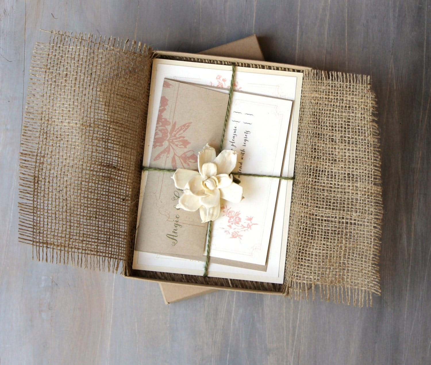 zoom - Burlap Wedding Invitations