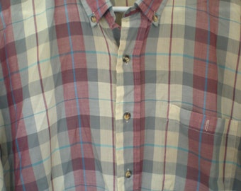 Clearance Sale, Vintage Men's Levi's Plum Plaid Shirt, Size XL