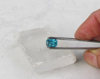 Blue Zircon Emerald Cut 8.5 x 6.5 MM Natural December Birthstone for Pendant
