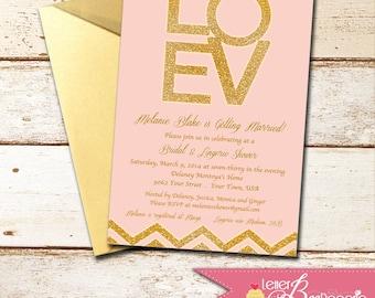 Pink Glitter Custom Bridal Shower Invitation - DIY Printable Invite - Weddings, Lingerie Shower, Bachelorette Party - Chevron - Chic Invites