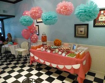 pink and aqua pom set candy buffet cake table pom poms dessert table - Pom Pom Decorations