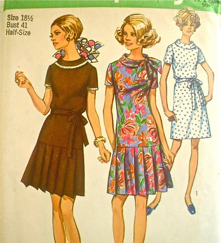 dress pattern with pleated skirt 1960s simplicity 8602 bust 41