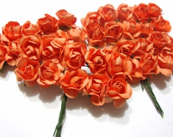 Small Orange Mulberry Paper Roses Flowers - 4 Bunches
