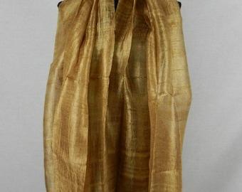"100 % Thai Raw Pure Silk Scarf Shawl Wrap  24""x62"" Large in Bronze H36"