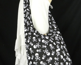 Skull Puck Rock Sling Crossbody Bag Purse Hippie Hobo Thai Cotton in Black Red Orange Purple / Pick Color
