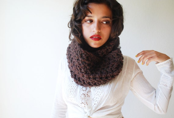 The Beginners Cowl Hand Knit in Chocolate Wool Blend