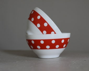 Two Gorgeous  French Vintage Red Polka Dot Cafe Au Lait Bowl Milk Glass