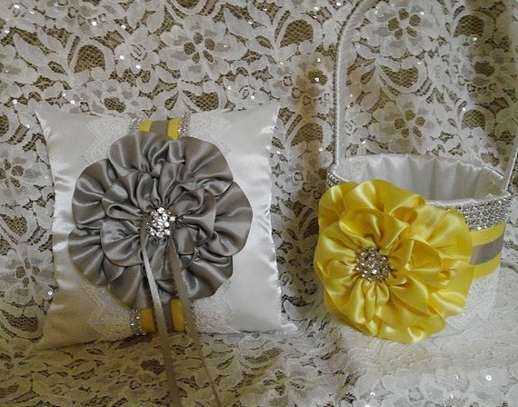 Flower Girl Baskets And Matching Ring Bearer Pillows : White flower girl basket and matching ring by allaheartdesires