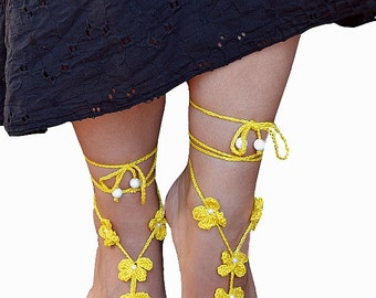 yellow crochet Bidal Barefoot Sandals, Bridal Foot Jewelry, Beach Wedding Barefoot Sandals, Barefoot Wedding Sandal, Boho Wedding Shoes