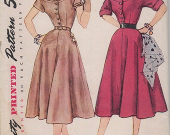 Bust 32-FACTORY FOLDED 1950's Misses' Dress Simplicity 8413 Size 14
