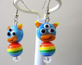 Three Eyed Monster Earrings Lampwork Blue Yellow Orange