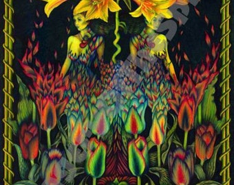 Sisters of the Garden giclee fine art print on heavyweight cotton rag paper