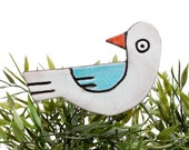 bird garden art - plant stake - garden marker - garden decor - bird ornament - ceramic bird - white & turquoise