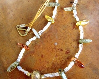 Earthy Fall Necklace - Bohemian Quartz and Leather Necklace - Hippie Style Necklace - For Her