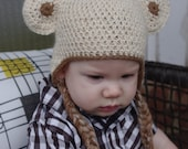 Natural Alpaca Bear Hat for Baby Size 6-12 months