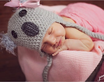 Natural Gray Koala Bear Hat for Newborn Gray with Fuzzy Ears and Ties