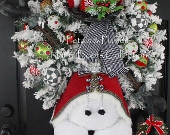 """PRE-ORDER """"2016"""" Delivery-Winter Wreath-""""Mr. Frost'icles"""""""" Snowman-Christmas Wreath-Petals & Plumes ORIGINAL Design©"""