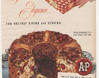 1951 Advertisement A and P Jane Parker Fruitcake Christmas Giving Tradition Pudding Wall Art Decoration Kitchen Holidays